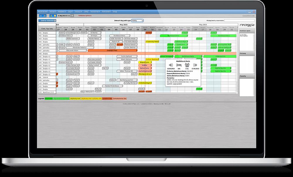 Náhľad hlavnej stránky systému - mapy izieb